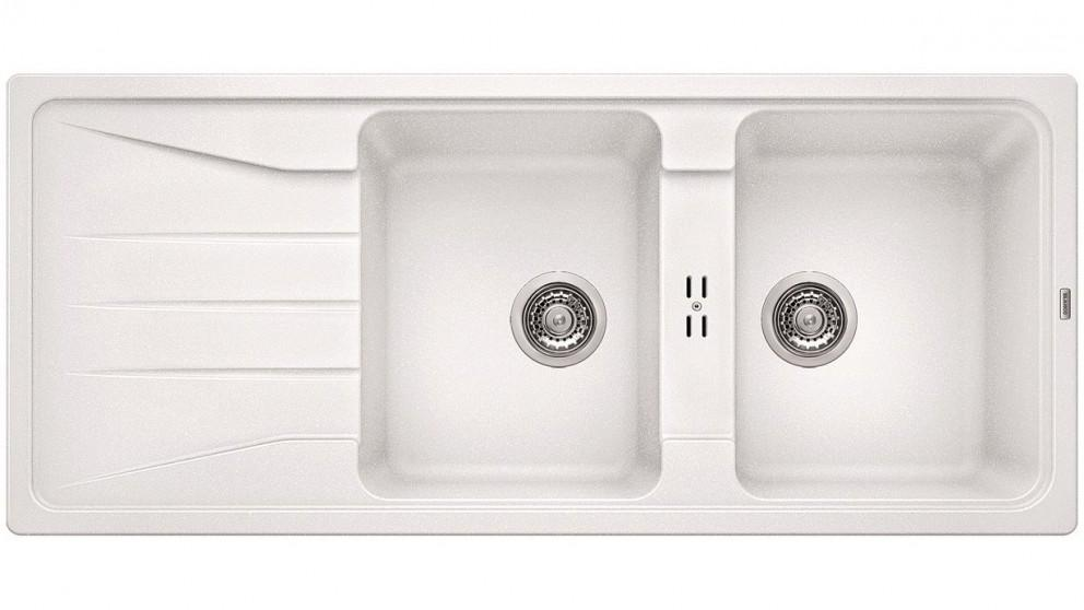 Blanco Silgranit 26L Double Bowl Inset Sink with Drainer – White