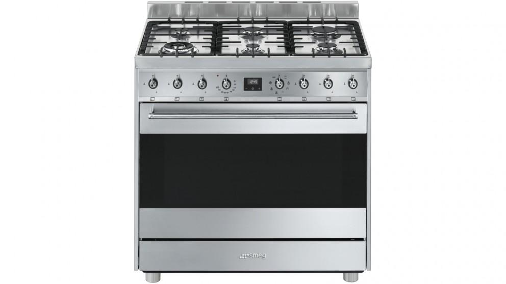 Smeg 900mm Freestanding Cooker with Electronic Touch Clock – Stainless Steel