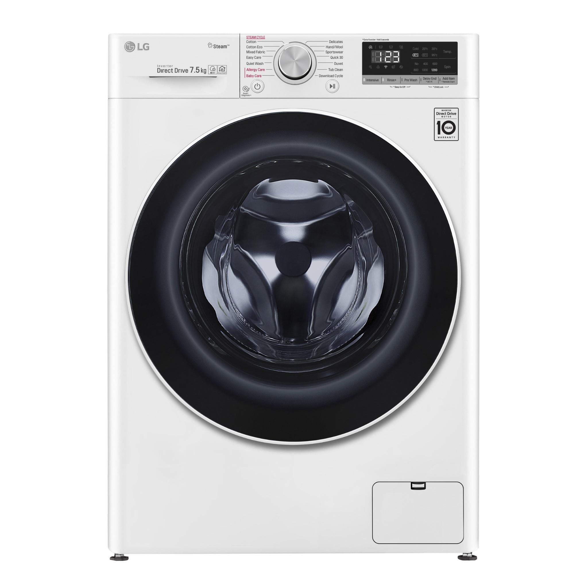 LG WV5-1275W 7.5kg AI Direct Drive Front Load Washer with Steam