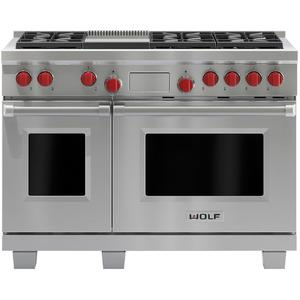 WOLF 122cm Freestanding Dual Fuel Oven/Stove with Infrared Teppanyaki ICBDF486GNG