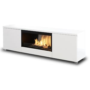 Planika Pure Flame Bio-Ethanol Freestanding Fireplace and TV Cabinet with Mesh PUFLTVBGWS