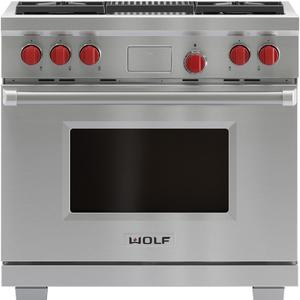 WOLF 91cm Freestanding Dual Fuel Oven/Stove with Infrared Chargrill ICBDF364CNG