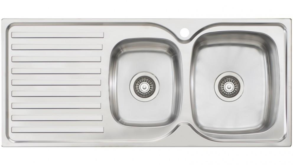 Oliveri Byron 1 & 3/4 Right-Hand Bowl Top Mount Sink with Drainer