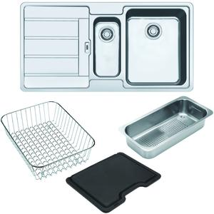 Franke Hydros 1 and 1/4 Bowl Left Hand Drainer Sink with Accessories HDX654LHD-FPC