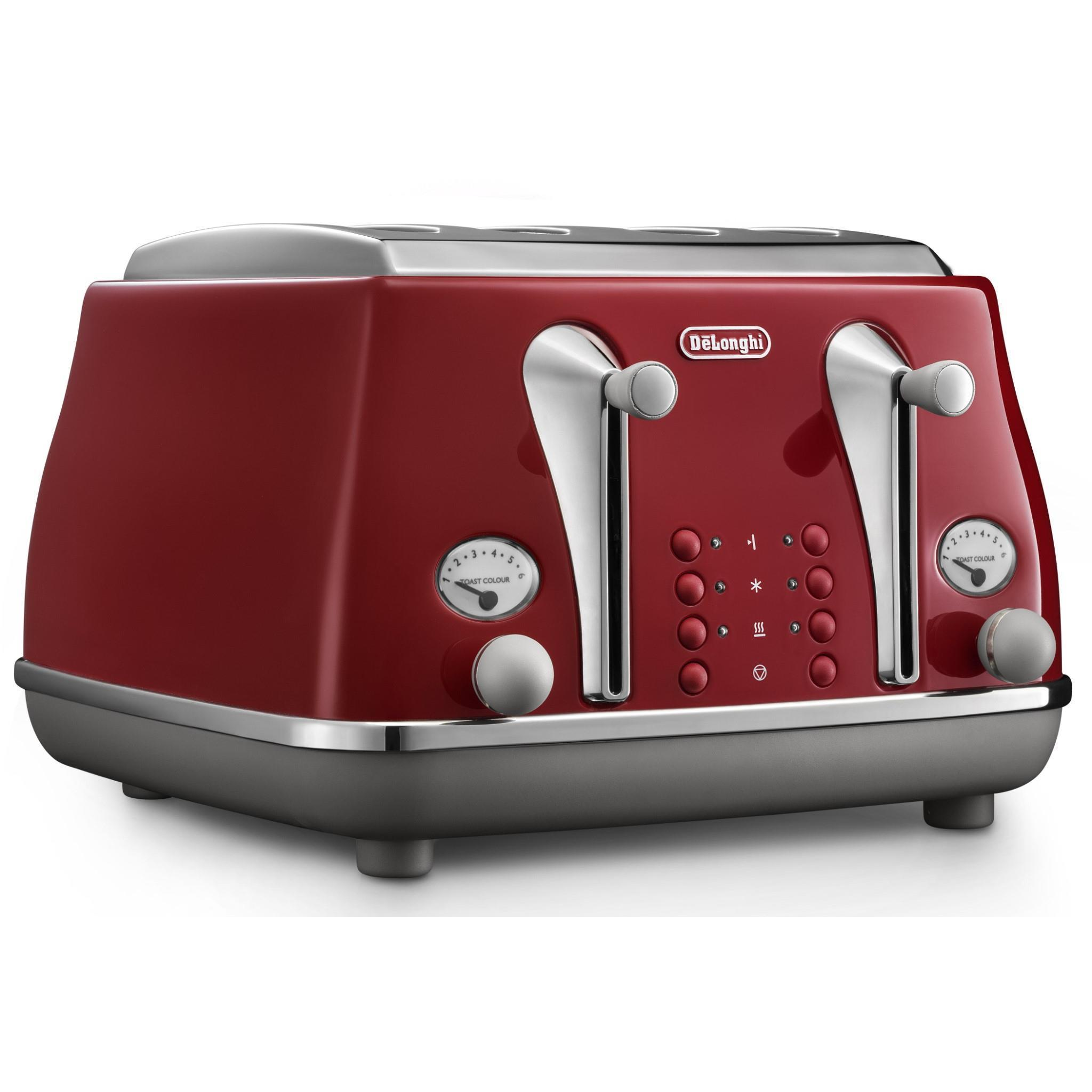 DeLonghi Icona Capitals 4 Slice Toaster (Tokyo Red)