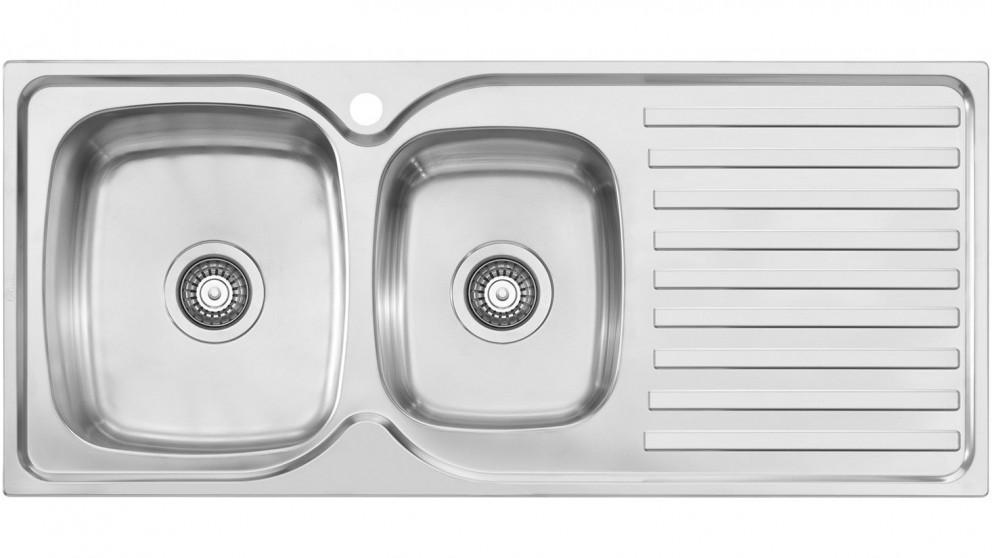 Oliveri Byron 1 & 3/4 Left-Hand Bowl Top Mount Sink with Drainer