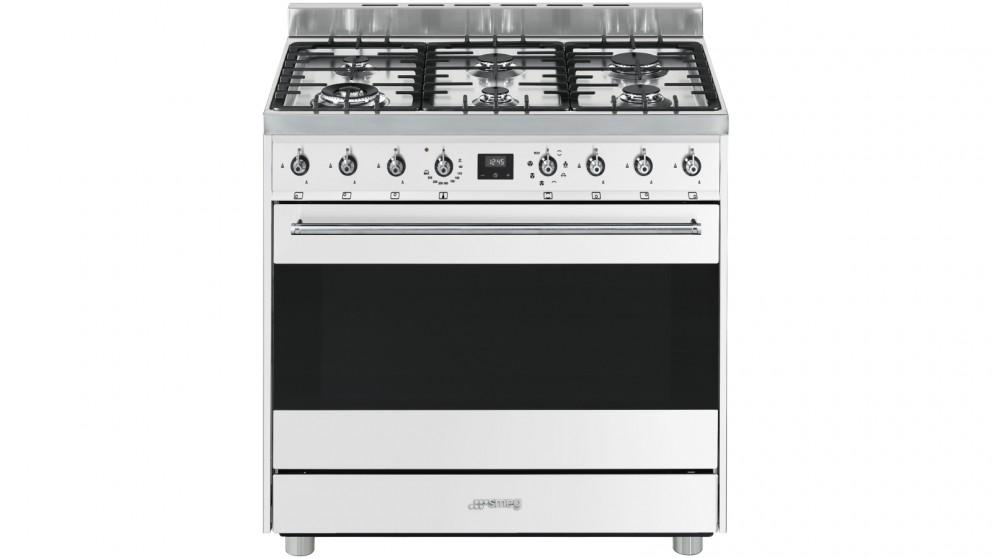 Smeg 900mm Freestanding Cooker with Electronic Touch Clock – White