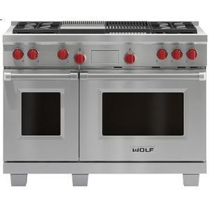 WOLF 122cm Freestanding Dual Fuel Oven/Stove with Infrared Chargrill and Teppanyaki ICBDF484CGNG