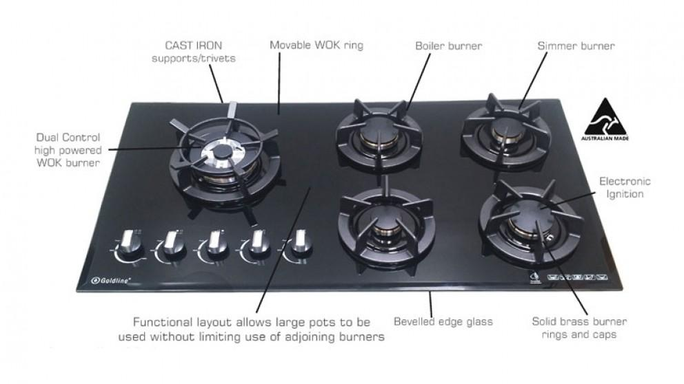 Goldline 900mm 5 Zone Dual Control Natural Gas Cooktop – Black
