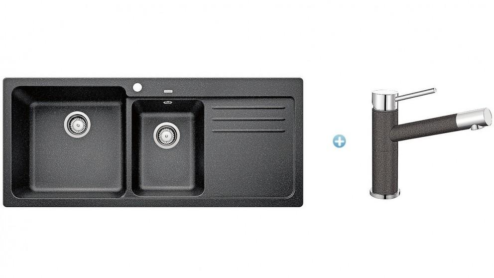 Blanco SILGRANIT 1 and 1/2 Bowl Sink and ALTAA Tap – Anthracite