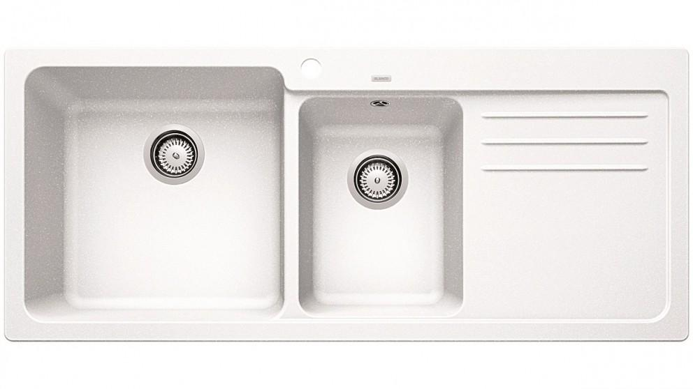 Blanco NAYA8S Left Hand Double Bowl Inset Sink with Drainer – White