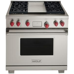 WOLF 91cm Freestanding Dual Fuel Oven/Stove with Infrared Teppanyaki ICBDF364GNG