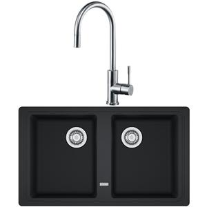 Franke Basis Double Bowl Sink with Eos Pull-Out Tap Pack BFG620-TA9501