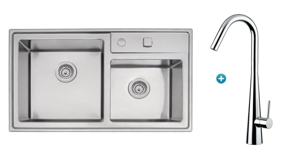 Linsol Tramontina Double Bowl Sink & Aria Kitchen Mixer Package