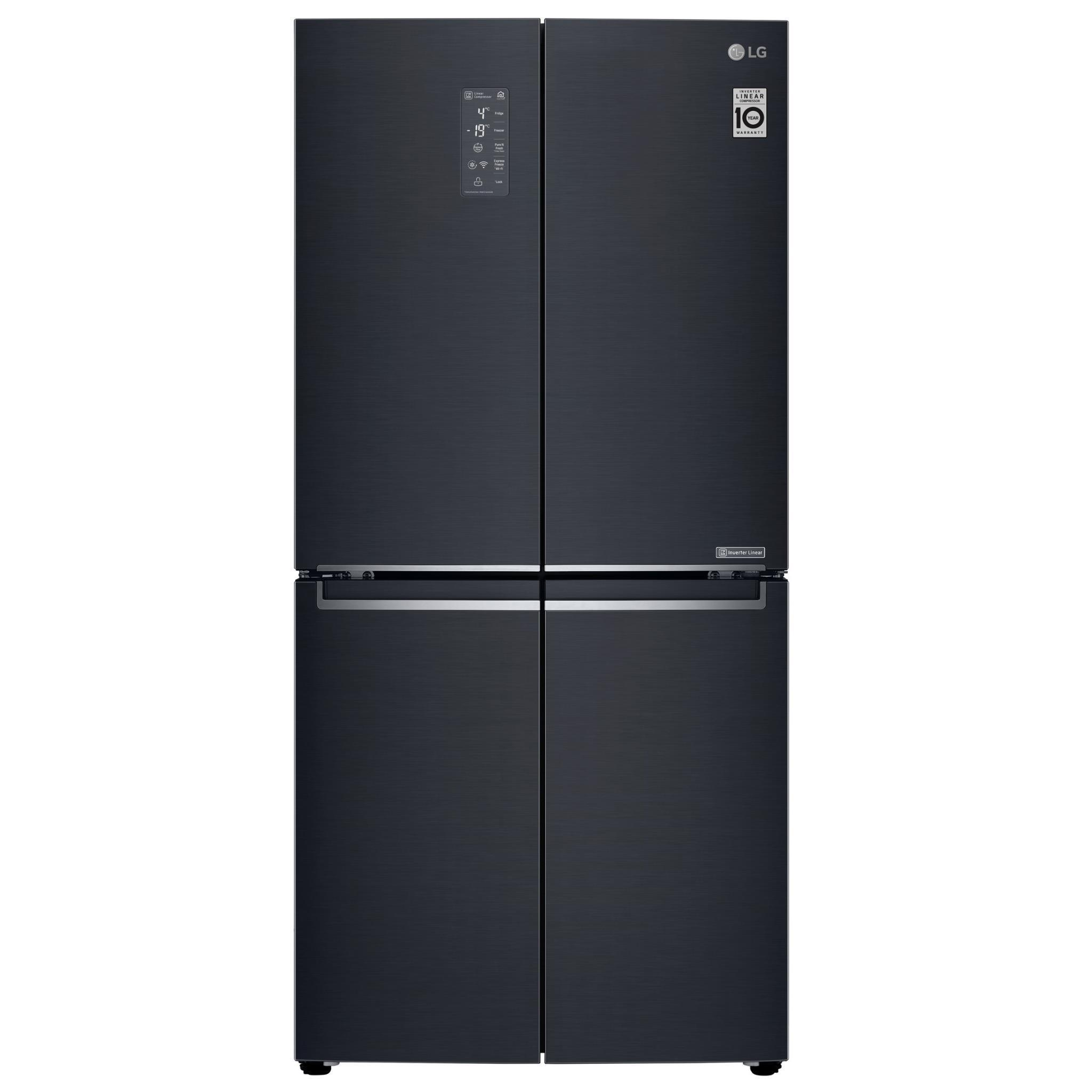 LG GF-B590MBL 594L Slim French Door Fridge (Matte Black, S/Steel)