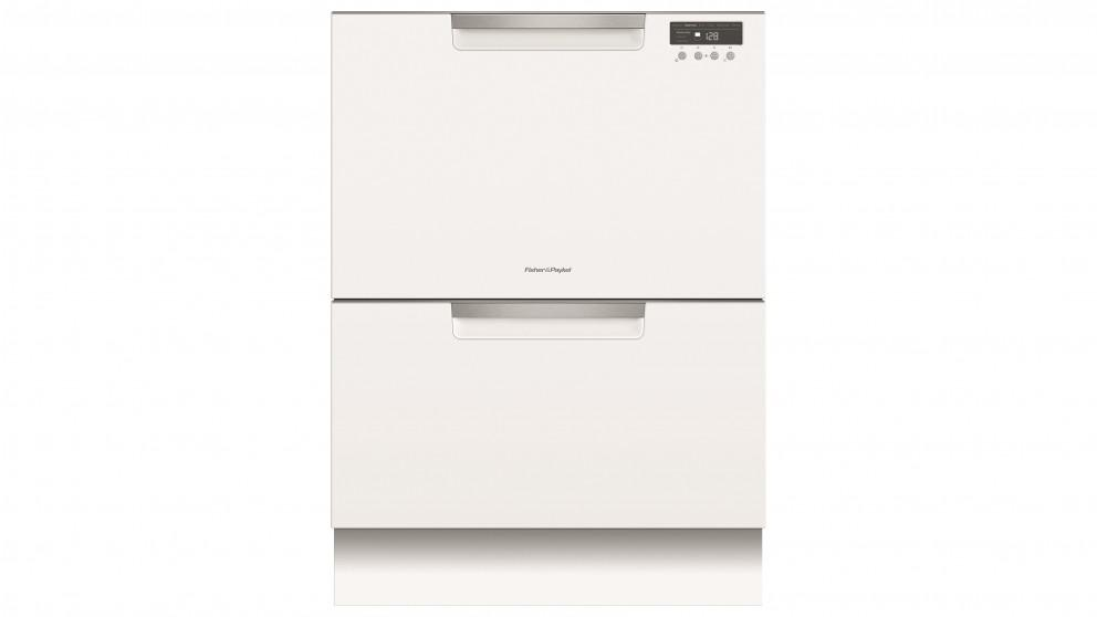 Fisher&Paykel Double Dishdrawer incl Sanitise, ExtraDry & full flex racking – White