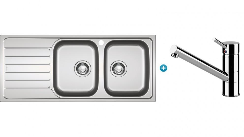 Franke Spark Kitchen Left Hand Sink and Eclipse Swivel Mixer Package