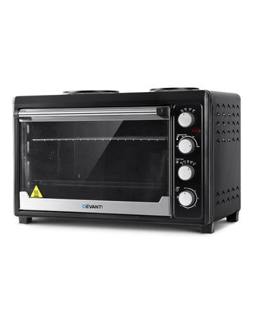 Devanti Devanti Electric Convection Oven Bake Benchtop Rotisserie Grill 60L Hotplate Black