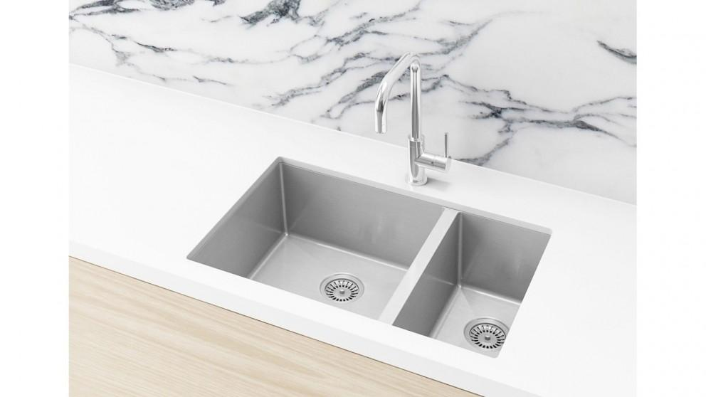 Meir 670x440mm Double Bowl Kitchen Sink – Brushed Nickel