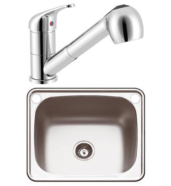 Abey PR45AP The Lodden 45L Single Inset Laundry Tub with Mix Master Pull Out Tap and Bypass