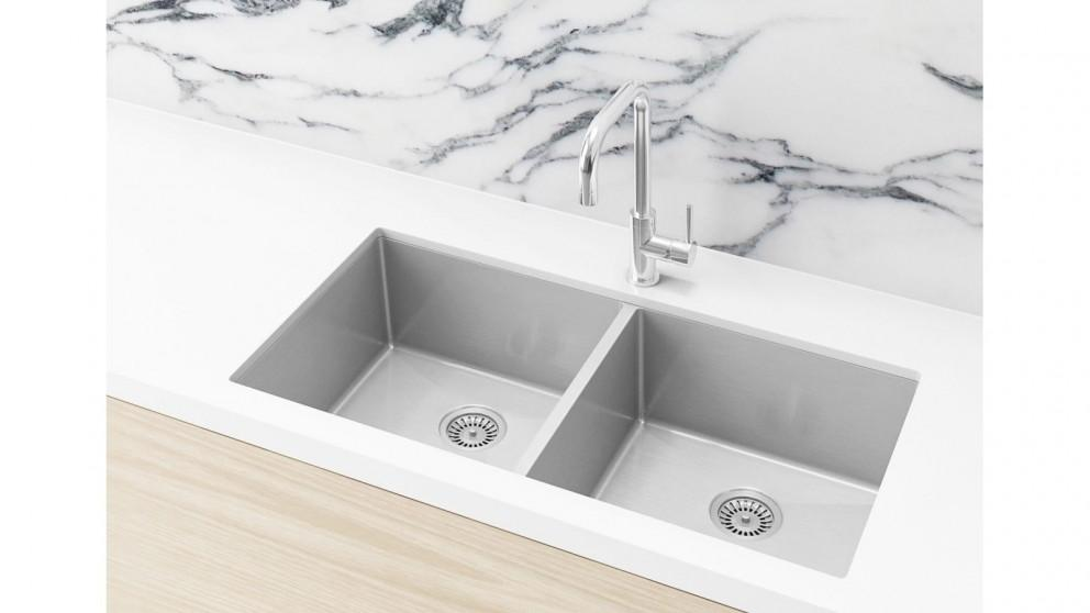 Meir 860x440mm Double Bowl Kitchen Sink – Brushed Nickel