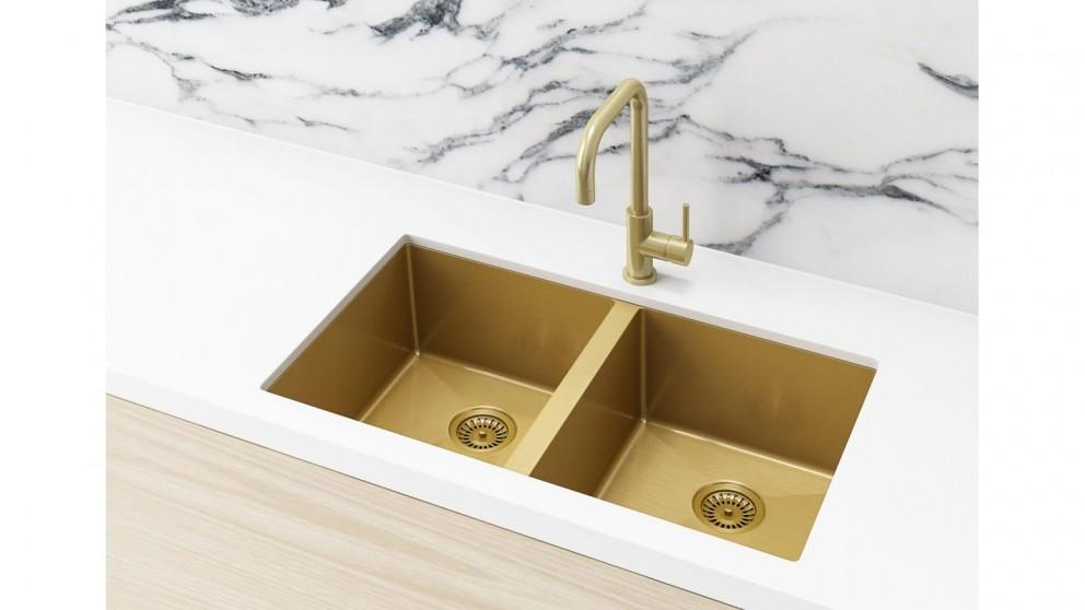 Meir 760x440mm Double Bowl Kitchen Sink – Brushed Bronze Gold