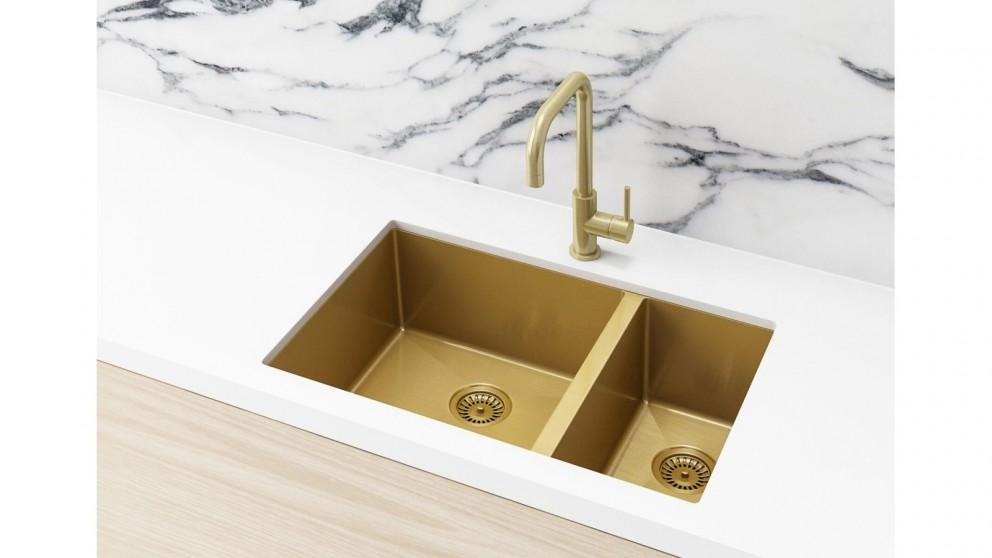 Meir 670x440mm Double Bowl Kitchen Sink – Brushed Bronze Gold