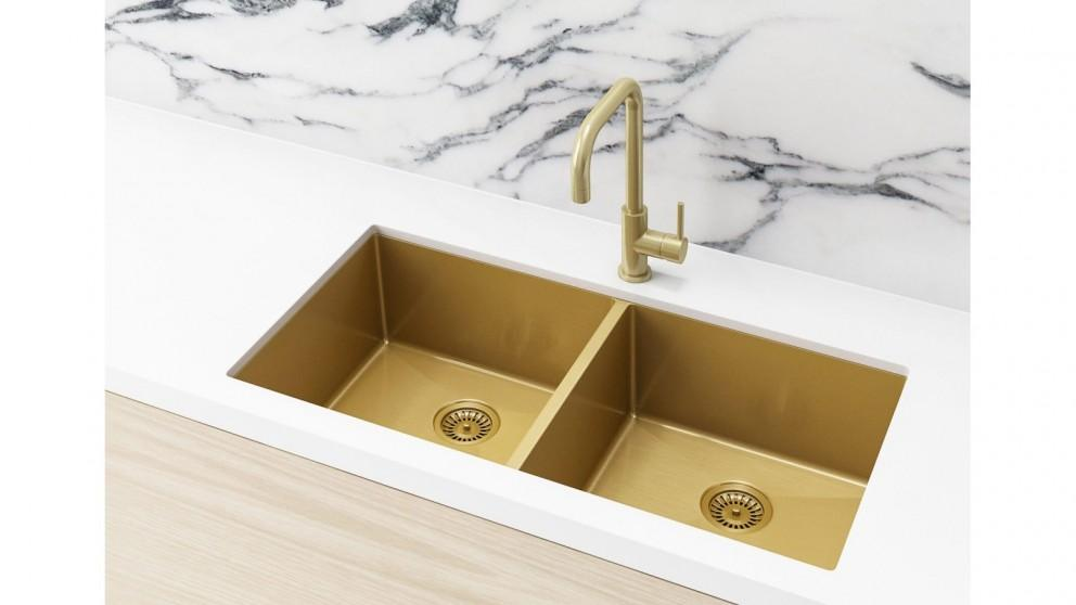 Meir 860x440mm Double Bowl Kitchen Sink – Brushed Bronze Gold