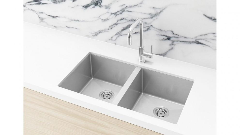 Meir 760x440mm Double Bowl Kitchen Sink – Brushed Nickel
