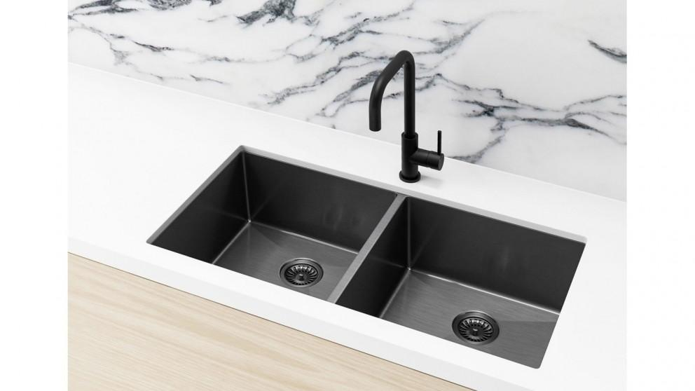 Meir 860x440mm Double Bowl Kitchen Sink – Gunmetal Black