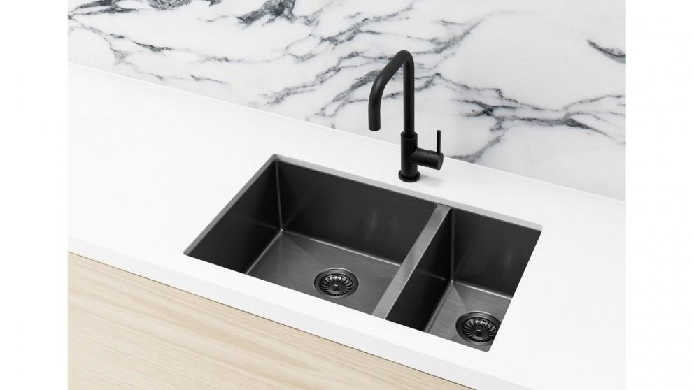 Meir 670x440mm Double Bowl Kitchen Sink – Gunmetal Black