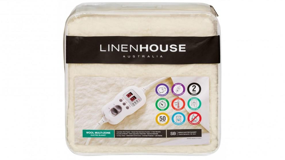 Linen House Wool Multi Zone Electric Blanket  – Single