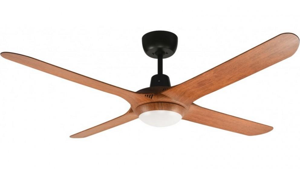 Ventair Spyda 140cm Fully Moulded 4 Blade Ceiling Fan with Light – Teak