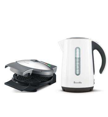 Breville 1.7L Soft Top Kettle and Waffle Maker Pack BKE625WHTBWM250BSS