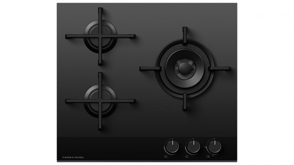 Fisher & Paykel 600mm 3 Burner Natural Gas on Glass Cooktop