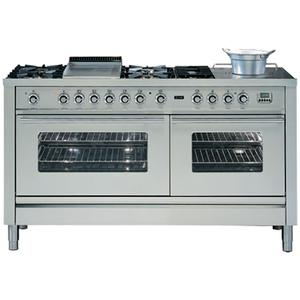 ILVE 150cm Wide Double Electric Oven with Tepanyaki and Simmer Plates PW150FSMPSS