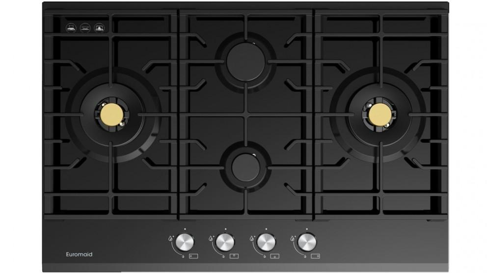 Euromaid Eclipse 750mm 4 Burner Black Glass Gas Cooktop
