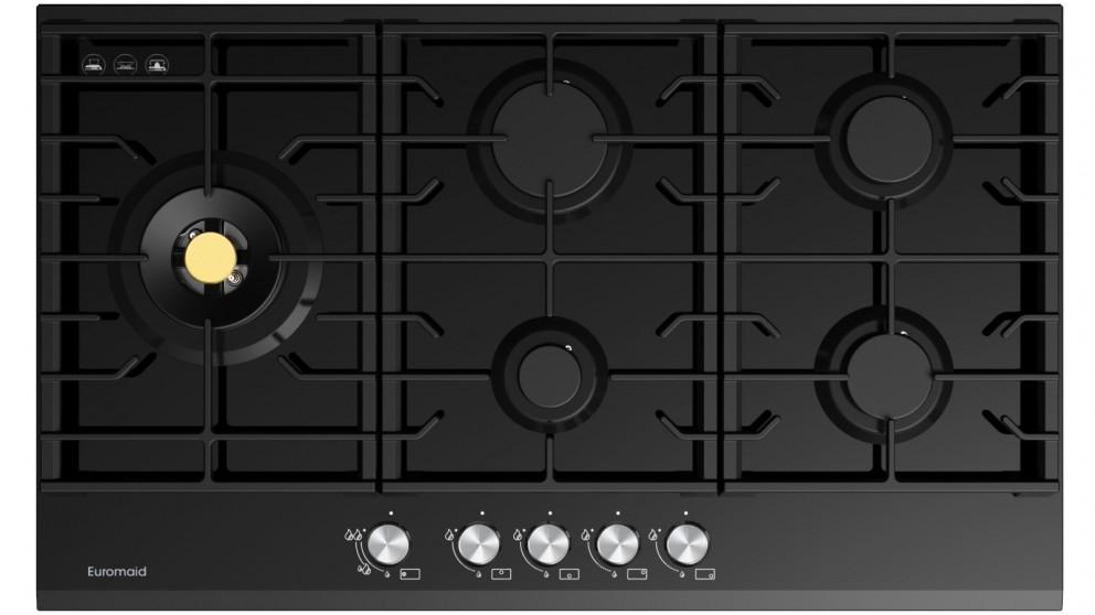 Euromaid Eclipse 900mm 5 Burner Black Glass Gas Cooktop