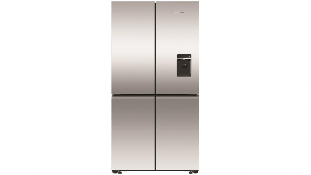 Fisher & Paykel 605L Recessed Handle Quad Door Fridge with Ice & Water Dispenser – Stainless Steel