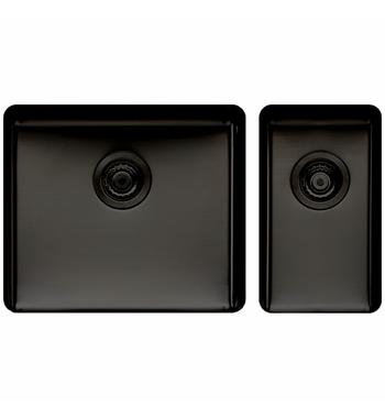 Titan Large and Small Bowl Sink Black Steel TSBS5228