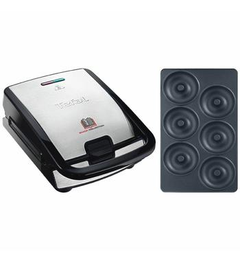 Tefal Snack Collection Sandwich and Waffle Maker with Donut Plate Attachment SW852-8011