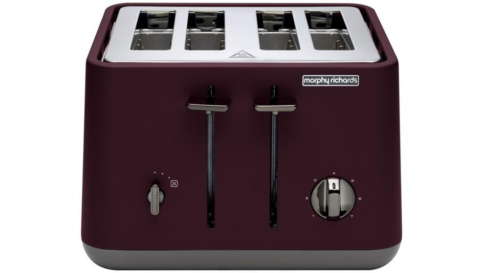 Morphy Richards Aspect Chrome Trim 4 Slice Toaster – Maroon