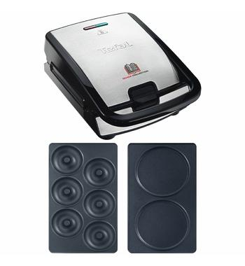 Tefal Snack Collection Sandwich and Waffle Maker with Pancakes Plates Attachment & Donuts Plates Attachment SW852PK