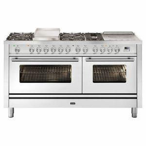 ILVE Professional Plus 150cm Freestanding Dual Fuel Oven/Stove with Teppanyaki Plate P15FSDWE3SS