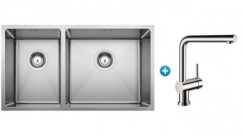Blanco Quatrus Right Hand Double Bowl Sink Package with Single Lever Mixer Tap