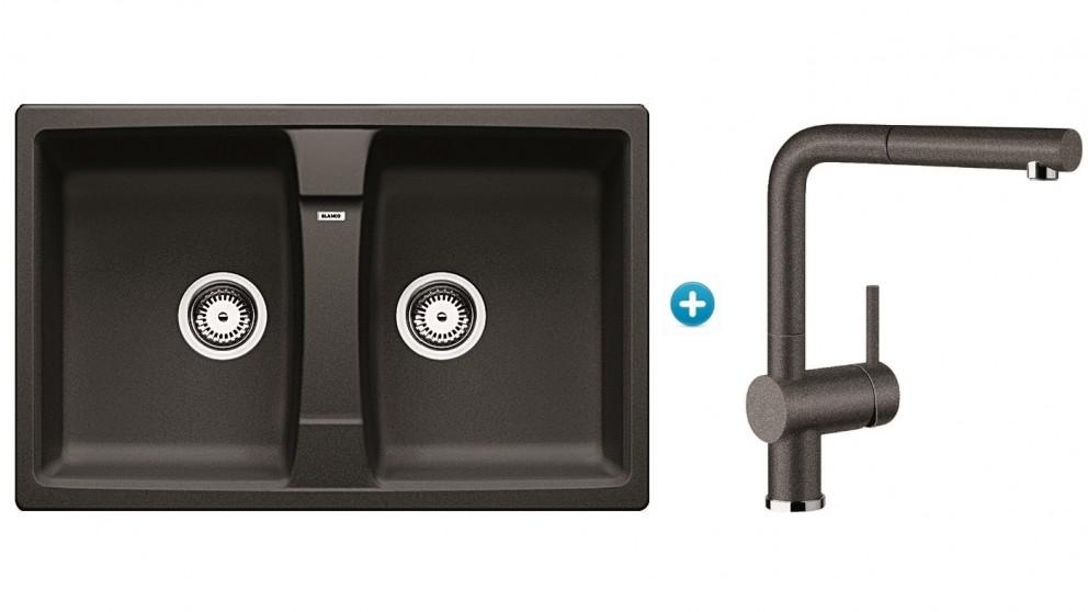 Blanco Double Bowl Inset Sink Package with Single Lever Mixer Tap