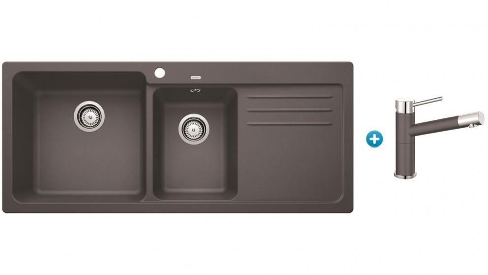 Blanco NAYA8S Double Bowl Inset Sink with Single Lever Mixer Tap – Rock Grey