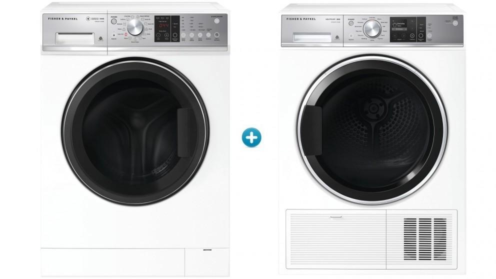 Fisher & Paykel 10kg Series 5 Front Load Washing Machine with 9kg Series 9 Heat Pump Condensing Dryer
