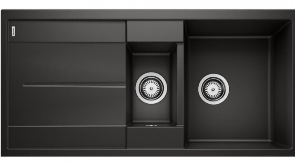 Blanco Metra 6S 1 & 1/4 Bowl Inset Sink with Drainer- Black