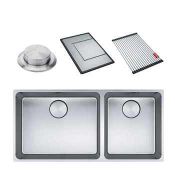 Franke Mythos Mythos Double Bowl 3 Way Installation Sink with Accessories MYX220-5034FPCSBR